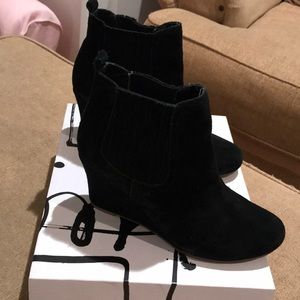 "Black Suede wedge booties DV ""Posie"""
